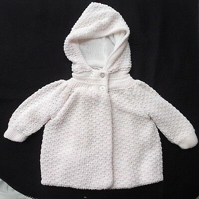vtg baby girl pink knit crochet hooded double breast sweater jacket 6-9 mo MINT