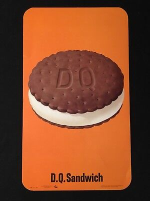 Vintage 1965 Dairy Queen D.Q. Sandwich Lithograph Promo Advertising Sign