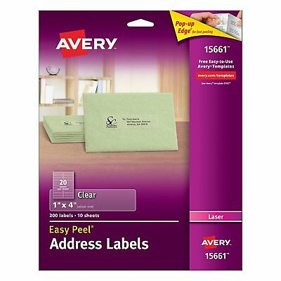 """Avery 15661 Clear Address Labels 1"""" x 4"""" Easy Peel 200 Labels /10 Sheets"""