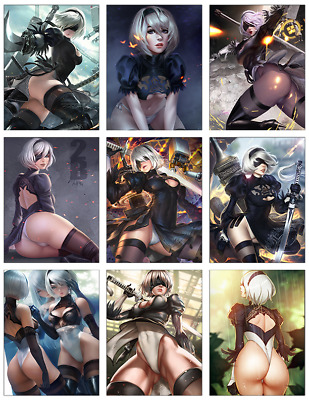"NIER AUTOMATA - 2B 9-pc Stickers Set - 2.5""x3.25"" (PS4, XBOX, GAME)"