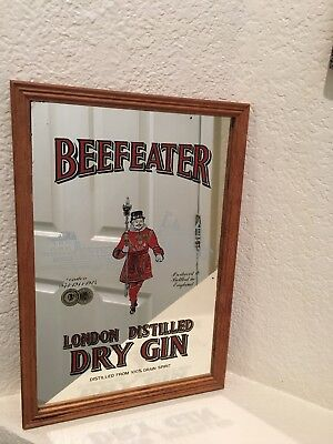 Vintage Beefeater London Distilled Dry Gin Pub Mirror Wall Decor Framed 13x9