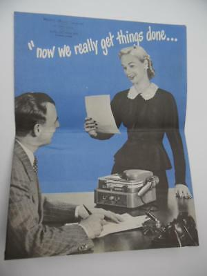 1948 GRAY AUDOGRAPH Office Dictation Machine Voice Writer Brochure Vintage ORIG.
