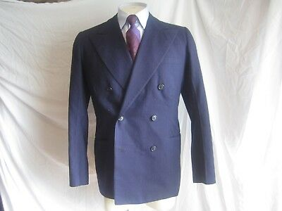 Vintage mens 1940s double breasted suit jacket sport coat blue striped swing 38L