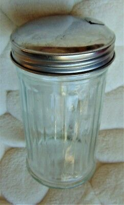 "Vintage Glass Sugar Jar With Metal Pour Spout & Flip Cover ~""gemco, Nyc"""
