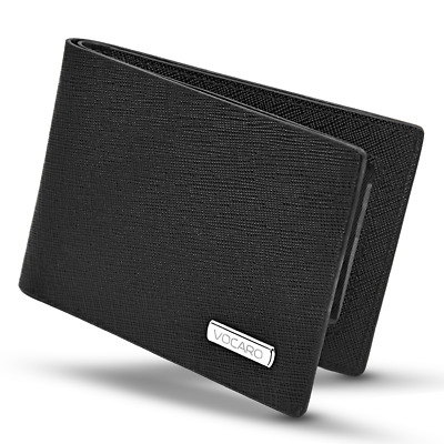 Vocaro | Mens Wallet Rfid Black Genuine Leather Saffiano Slim Mens Bifold