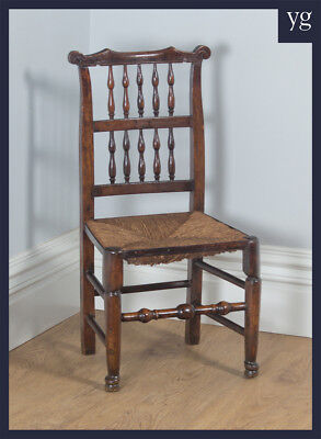 Antique Single One Georgian Ash Elm Rush Spindle Back Kitchen Dining Chair c1790