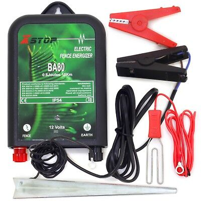 10km 12v Battery Powered Electric Fence Fencing Energiser Unit Earth .6J RoHS CE