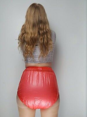 Red PVC Plastic Pants Adult DIAPER NAPPY Incontinence