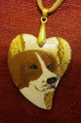 Pointer hand painted on Picture Jasper, heart shaped pendantbead/necklace
