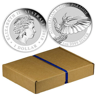 Mint Box of 100 2018-P Australia 1oz Silver Bird of Paradise BU SKU53598