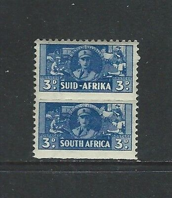 SOUTH AFRICA - #94 - 3d WAR EFFORT ROULETTED MINT PAIR (1942) MNH