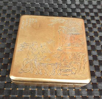 Chinese antique pure brass carving Old people and children ink box