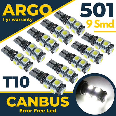 501 Bright Canbus LED Side Light W5W T10 9 SMD Super White Bulbs Xenon Power 12v