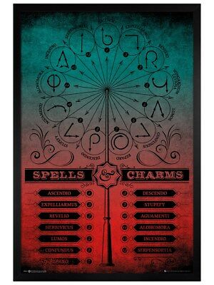 Harry Potter in schwarzes Holz eingerahmtes Spells And Charms Poster 61x91,5cm