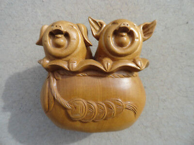 Laughing Pig Couple Wooden Carving Figure