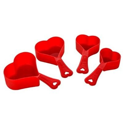 Premier Housewares 4 Piece Red Love Heart Shaped Measuring Spoon Set Cups And -