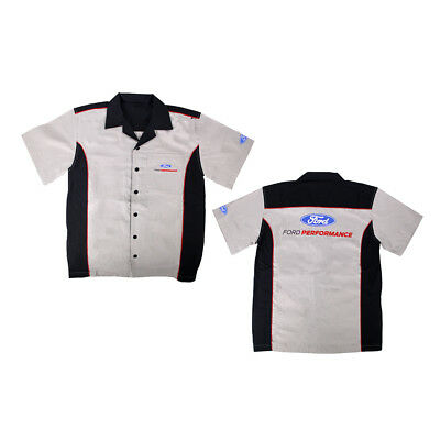 Apparel Pit Shirt Ford Performance Gray And Black Short Sleeve Button Up X-Large