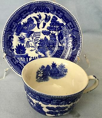 Vintage BLUE WILLOW CUP & SAUCER * Made in Japan * Very Nice  FREE SHIPPING