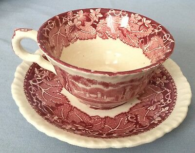 Vintage Masons England * Vista * Cup & Saucer * Pink & Red * Free Shipping
