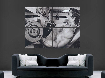 Arnold Schwarzenegger Poster Weightlifting Conquer Bodybuiling Gym Fitness Art