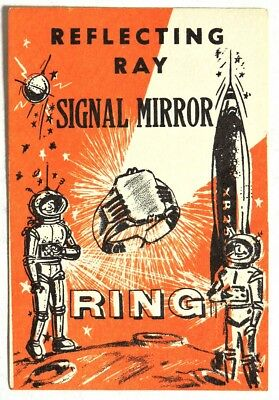 ESZ3628 REFLECTING RAY SIGNAL MIRROR RING Vending Machine Ad Piece (1960) RARE~~