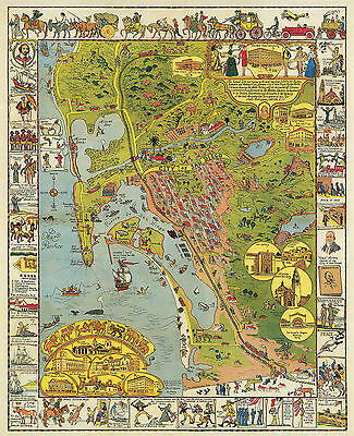 SAN DIEGO PICTORIAL LARGE Wall Map Art Poster Vintage Historical ...