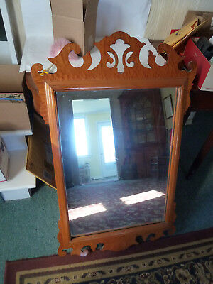 Vintage Antique Tiger Maple veneer Chippendale style large mirror