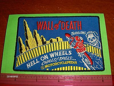 """Harley,Indian,Customs, Vintage Style """"Wall of Death"""" Motorcycle Jacket Patch"""