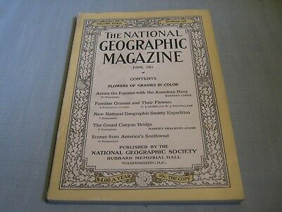 ANTIQUE NATIONAL GEOGRAPHIC June 1921 GRASSES FLOWERS American Navy GRAND CANYON