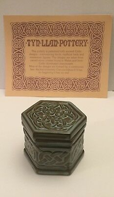 "TYN LLAN Welsh Vintage Studio Pottery Celtic Design Hexagonal Lidded Pot 2"" inch"