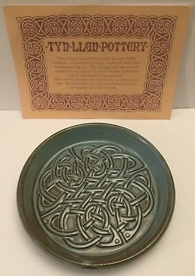 "TYN LLAN Welsh Vintage Studio Pottery Celtic Design Round Dish 5""inches"
