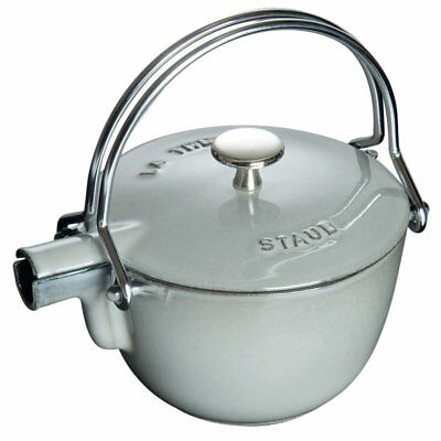 Staub 1650018 1 Quart Cast Iron Round Teapot Tea Kettle, Graphite Grey
