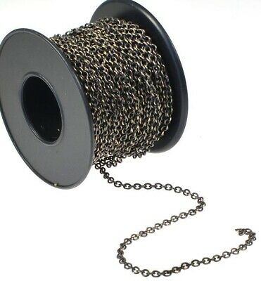 32 Foot Spool Antiqued Brass Plated Bulk 2.1x2.7mm Link Cable Chain