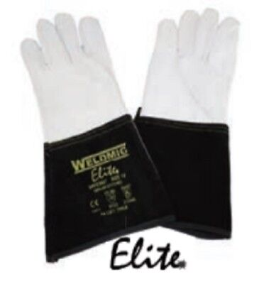 Elite Black TIG Welding Leather Gauntlets / Gloves - Leather with Kevlar Stitch