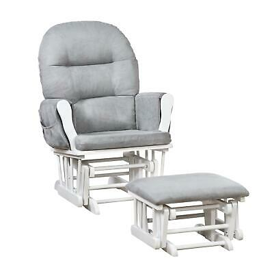 Naomi Home Brisbane Glider & Ottoman Set White Gray