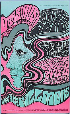Grateful Dead Canned Heat PSYCHEDELIC 1967 BG 51 MINT Fillmore Poster