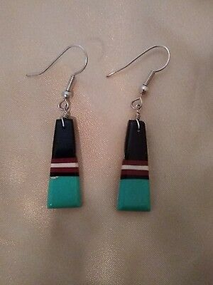 Pre-owned Native American Inlaid Turquoise Jet Earrings