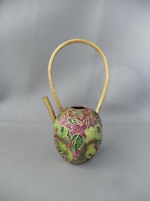 Antique Vtg Chinese Gold Gilt & Enamel Cloisonne Miniature Water Can? Pitcher