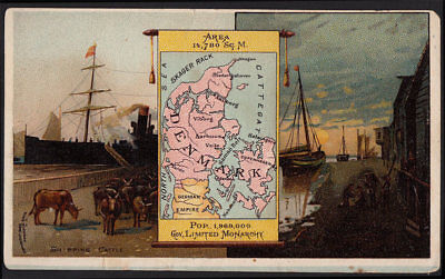 Arbuckle's Coffee Denmark Country Map VTG Trade Card #88 Shipping Cattle Fishing