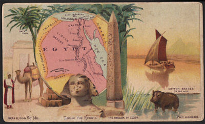 Arbuckle's Coffee Egypt Country Map VTG Trade Card #65 Sphinx Nile Obelisk Luxor