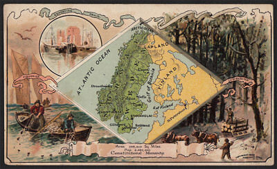 Arbuckle's Coffee Sweden Country Map VTG Trade Card #99 Fishing Lumber Logging