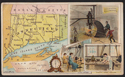 Arbuckle's Coffee Connecticut State Territory Map VTG Trade Card #92 Factories