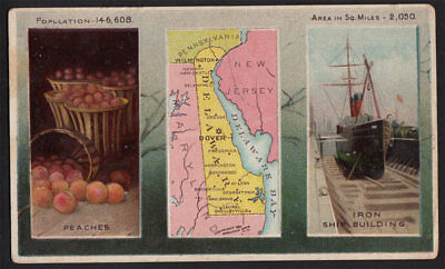 Arbuckle's Coffee Delaware State Territory Map VTG Trade Card #72 Ship Building