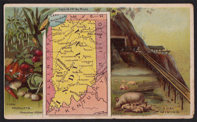 Arbuckle's Coffee Indiana State Territory Map VTG Trade Card #90 Coal Mining