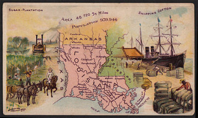Arbuckle Coffee Louisiana State Territory Map VTG Trade Card #58 Black Americana