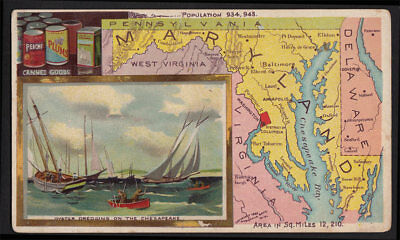 Arbuckle's Coffee Maryland State Territory Map VTG Trade Card 56 Canning Fishing