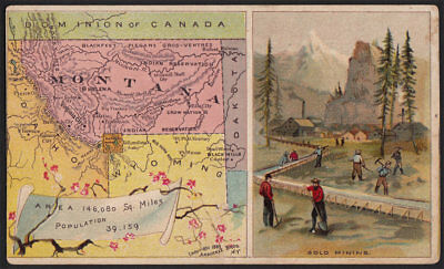 Arbuckle's Coffee Montana State Territory Map VTG Trade Card #79 Gold Mining