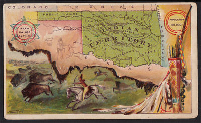 Arbuckle's Coffee Indian Territory State Map VTG Trade Card #99 Native _Oklahoma