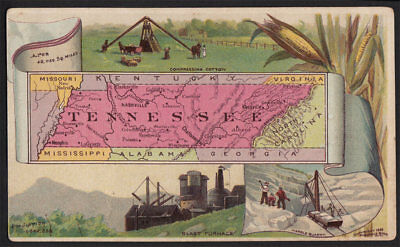 Arbuckle's Coffee Tennessee State Territory Map VTG Trade Card #73 Quarry Cotton