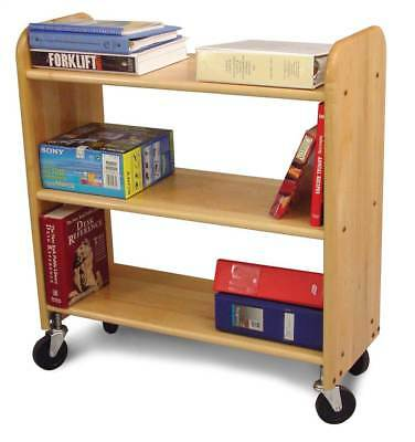 Library Book Truck w 3 Flat Shelves & Natural Birch Finish [ID 23789]